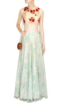 The Little Black Bow presents Pink and teal print rose embroidered lehenga set available only at Pernia's Pop Up Shop. Lehenga Skirt, Anarkali, Lehenga Online, Indian Blouse, Pernia Pop Up Shop, Indian Attire, Asian Fashion, Designer Dresses, High Waisted Skirt