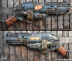 """Nerf Sledgefire """"certified badass mothereffer"""" by Ethis crea Nerf Mod, Steampunk Weapons, Steampunk Gadgets, Cosplay Weapons, Weapons Guns, Larp, Modified Nerf Guns, Imperator Furiosa, Apocalypse"""