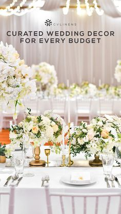 Sophisticated White Gold And Greenery Wedding Reception Decorations