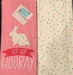 Set Of 2 Cute Easter Spring Bunny Rabbit Blue Glasses Kitchen Dish Bar Towels