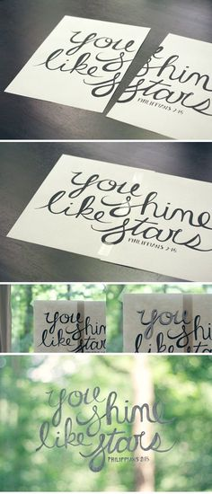 DIY window glass art - print a saying, tape it to one side of your window, trace the other side with wet erase chalk marker