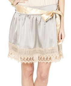 Loving this Gray & Beige Lace-Hem Pleated Skirt on #zulily! #zulilyfinds  Such a cute skirt