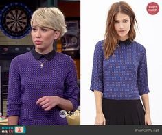 Riley's blue buttoned back top with black collar on Baby Daddy.  Outfit Details: http://wornontv.net/46174/ #BabyDaddy
