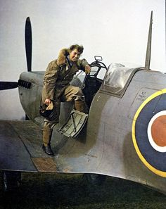 Due to the non combat nature of their work, Air Transport Auxilliary used women pilots to deliver aeroplanes to the various units .Here a brand new Supermarine Spitfire on its way ~