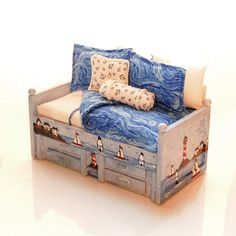 NAUTICAL Lighthouse Boats Miniature Dollhouse Boy's Twin Bed Daybed Hand Painted…