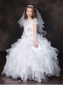 White Beautiful Organza Multi Ruffled Pageant Dress with Bolero in Size Girls Sizes in 8 Colors - Formal/Party Girl Dresses - GIRLS White Flower Girl Dresses, Lovely Dresses, Girls Party Dress, Girls Dresses, Girls Communion Dresses, Organza Dress, Floor Length Dresses, Pageant Dresses, Ball Gowns