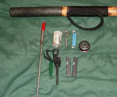 """Survival Walking Stick Parts List: 1. 1.5""""x58-60"""" Solid Wood Pole or Unfinished Walking Stick (I bought a 5' length of 1.5"""" Pine Rod from Home Depot, sold by the foot) 2. 2-3 D-cell Maglight (preferably used and then send to a local repair center to get the O-rings replaced) 3. 20mm Diameter Compass 4. 20mm Thermometer 5. Paracord 6. 1 1/8"""" (28mm) Alpine Spike (also known as Metal Spike Ferrule) 7. Alpine Spike Rubber Tip 8. Zinc Coupler for Walking Cane 9. 1.25"""" Rou..."""