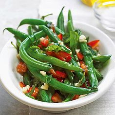 Green Beans with Basil, Mint and red pepper from your garden