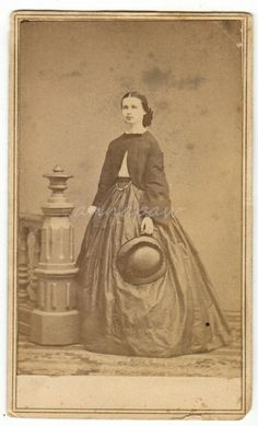 Pretty Woman Hoop Skirt Jacket Hat Kingston NY Civil War era Antique CDV Photo in Collectibles, Photographic Images, Vintage & Antique (Pre-1940), CDVs | eBay