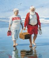 Barefoot on the Beach canvas print.Mr & Mrs Santa before the Christmas rush! Love this picture of the Claus's!