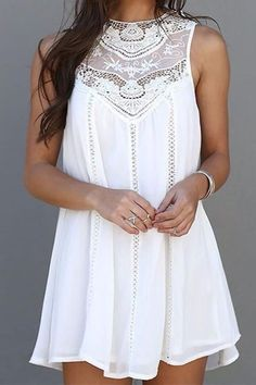 Sleeveless white Boho fashion dress lace detail