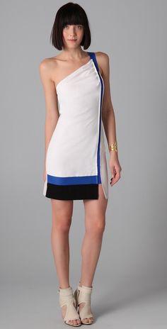 Sachin & Babi Gloria One-Shoulder Colorblock Dress 8