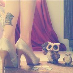 Ink and high heels no better combination! #owl  #ink #inked #inkedgirls #inkedgirl #tattoo #tattoos #tattooed #tattooart #tattooedgirls #tattoodesign #tattoed #tattooedgirl #tattooedwomen  #bodyart #art #inkart #legtattoo #highheels #heels #owl