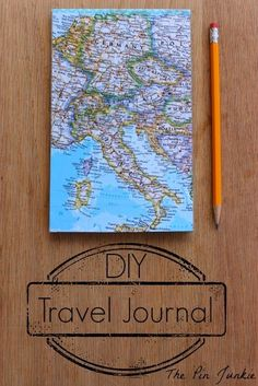 DIY Travel Journal.  Make a travel journal out of an old map and a pad of paper.  Awesome idea for next summer!
