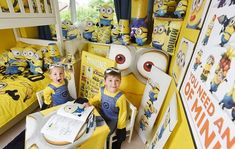Michael and Alexander Ralph, aged six and four, who are obsessed with minions, have transf. Minion Baby, Minion Theme, Minion Birthday, Bedroom Themes, Bedroom Decor, Bedroom Ideas, Bedrooms, Art Wall Kids, Art For Kids