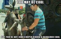 You may be cool, but you'll never be John Cooper riding a kangaroo cool