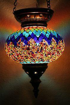 LARGE TURKISH MOROCCAN MOSAIC HANGING LAMP SHADE PENDANT LANTERN LIGHT XMAS GIFT