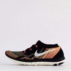 Nike Free 3.0 Flyknit Men's Running Trainers Shoes Sneakers Black/Orange #Nike…