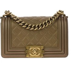 Pre-owned Chanel Bronze Quilted Small Le Boy Bag (71,955 MXN) ❤ liked on Polyvore featuring bags, handbags, chanel, clutches, bolsas, preowned handbags, brown purse, brown hand bags, bronze handbag and bronze purse