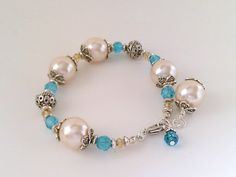 Large Pearl and aqua Swarovski crystal bracelet, Bali silver beads, Vintage faux pearls, retro pearls, blue and pearl bracelet by barefootcreekgifts on Etsy.
