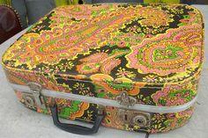 vintage paisley suitcase - black yellow orange pink green