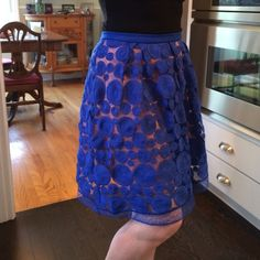Anthropologie Eva Franco skirt, sz 8,  NWOT Exquisite, glamorous size 8 Eva Franco skirt. Royal blue with pink underlay and side zipper. Knee length. It can be dressed up or down. Never worn. Anthropologie Skirts
