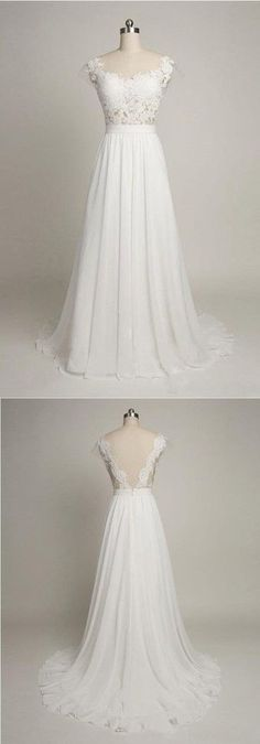 Charming Prom Dress,White Chiffon Prom Dress,Lace and Appliques Prom Dress,Long Prom Dresses