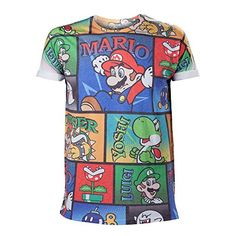 Nintendo Super Mario Bros. All-Over Mario And Co Medium T-Shirt @ niftywarehouse.com #NiftyWarehouse #Mario #SuperMario #Nintendo #VideoGames #Gaming #MarioBrothers