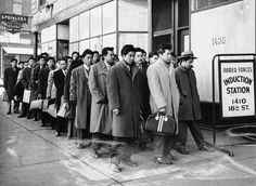 These 48 Japanese Americans from the Granada Relocation Center near Lamar, Colorado, reported for preinduction physical examinations at the Denver Induction Station, on February 22, 1944.