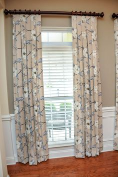 Floral drapery panels brighten up this dining room. Inverted pleat panels with wood hardware. Window Treatments, Drapery Panels, Interior, Room Transformation, Pleated Drapery, Room Makeover, Floral Drapery, Inverted Pleat Drapery, Beautiful Windows