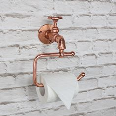 Copper Metal Tap Toilet Roll Holder - All For Decoration Quirky Bathroom, Timeless Bathroom, Modern Bathroom Decor, Industrial Bathroom, Industrial Shelving, Vintage Industrial, Industrial Table, Industrial Design, Industrial Wallpaper