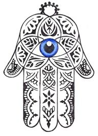 The Hamsa Hand: The Hamsa is an ancient Middle Eastern amulet symbolizing the Hand of God. In all faiths it is a protective sign. It brings it's owner happiness, luck, health, and good fortune.