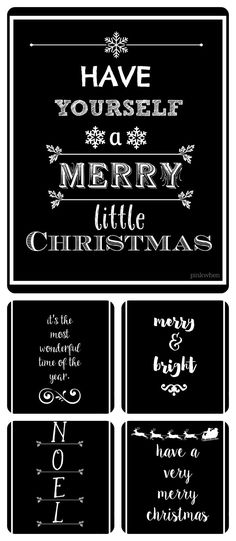 Five FREE Black and White Christmas Printables