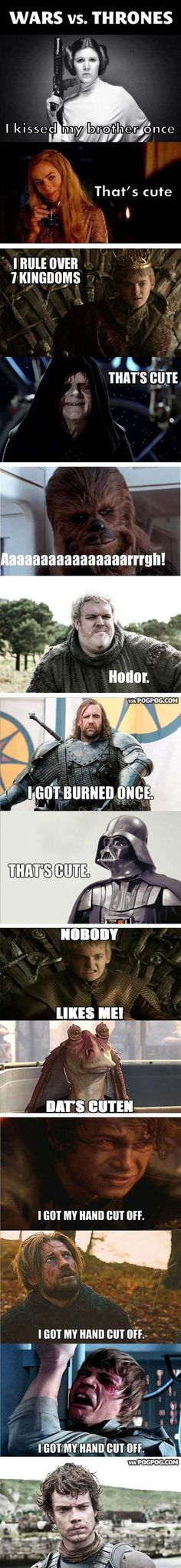 Funny pictures about Star Wars vs. Game of Thrones. Oh, and cool pics about Star Wars vs. Game of Thrones. Also, Star Wars vs. Game of Thrones. Memes Lol, Got Memes, Funny Memes, Hilarious, Tyron Lannister, Game Of Throne Lustig, Humour Geek, Game Of Thrones Funny, Game Thrones