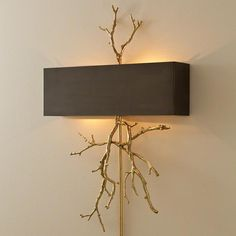 Twig Electrified Wall Sconce - Brass w/Bronze Shade