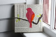Collage idea...I would type tweet chirp etc then print out and distress