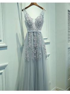 A13-Blush A-Line V-Neck Sleeveless Gray Long Prom Dress with Lace
