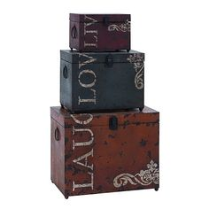 """The most thoughtful gift is the gift to live, love and laughter. So why not give the chance to cherish these gifts every time you walk into your home? This set of three storage trunks combine a charming antique design with a chic and modern style in its decoration. Each of the three feature stylish reminders of """"live, love and laughter,"""" each in a different bold color of deep red, royal blue and burn orange, respectively. Made with aged iron alloy throughout, with ..."""