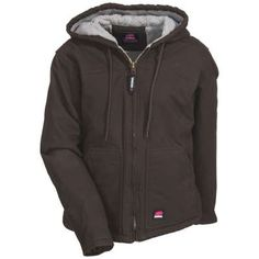 Berne Coats: Women's WHJ43 DBN Brown Sherpa-Lined Washed Hooded Coat