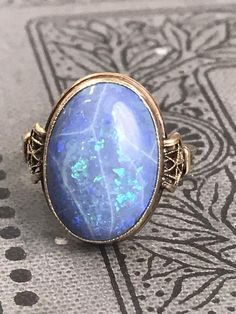 This item is unavailable Blue Opal Ring, Blue Rings, Opal Rings, Stone Rings, Silver Rings, Victorian Jewelry, Vintage Jewelry, Opal Jewelry, Fine Jewelry