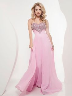 Empire Sweetheart Chiffon Floor-length Sleeveless Beading Prom Dresses at Dresseshop
