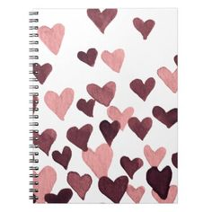 Valentines Day Watercolor Hearts  dark pink Notebook - girlfriend love couple gift idea unique cool