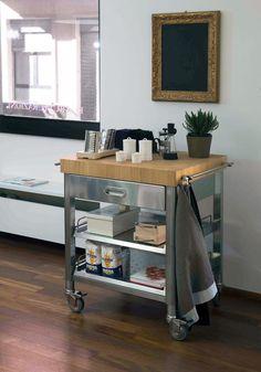 Carrello da cucina in legno + portabottiglie Bianco 419/B ...