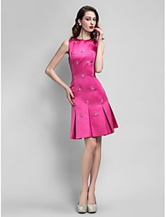 A-Line Jewel Neck Knee Length Satin Cocktail Party Homecoming Dress with Beading by TS Couture® – USD $ 315.00