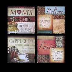Kitchen Wall Plaques | ... Italian-Bistro-Framed-Kitchen-Home-Wall-Plaque-Decor-Set-of-4-2-Styles