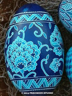 """Precision Art Studio Blog: Egg #19- Chinese Peonies, revisited design on dyed and etched goose egg from the """"50 years all cooped up, what's an egg to do?"""" series"""