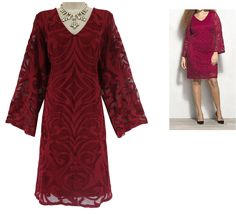 14 Large XL SEXY Womens GORGEOUS RED LACE DRESS Holiday Party Christmas Cocktail #dbestablished1962dressbarn #Shift #SpecialOccasion