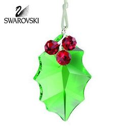 Holly Leaf Ornament, Swarovski - The Swarovski Crystal Holly Ornament features a fully faceted peridot crystal leaf with siam crystal berries and it hangs. Christmas Jewelry, Christmas Crafts, Christmas Ornaments, Swarovski Crystal Figurines, Swarovski Crystals, Bead Storage, Christmas Figurines, Glass Figurines, Holly Leaf