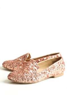 rose gold sequin loafers