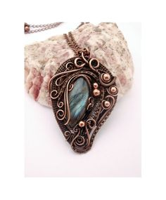 Wire Wrap Pendant Necklace Labradorite by PerfectlyTwisted on Etsy, $69.00